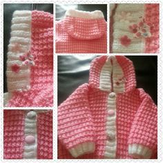 Baby girls knitted jacket with flower detail on hood. 0-3 months