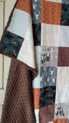 Hello Deer Minky Patchwork Blanket Modern by laruedefleurs on Etsy