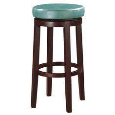 Oh! Home Dorothy Backless Bar Stool Aqua Blue Swivel Seat