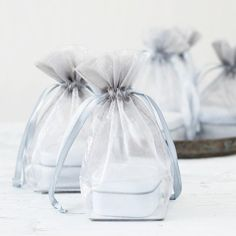 Our flat bottom organza bags are perfect for packaging candles, bath products, and confections.