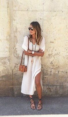 Boho Street Style Inspiration: White Kaftan Dress + Gladiator Sandals Casual Chic Summer Look