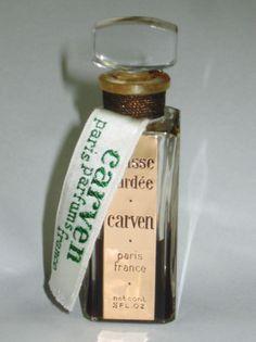 """Vintage """"Chasse Gardee"""" Parfum by CARVEN Paris France Glass Bottle 1/2 oz  #Carven"""