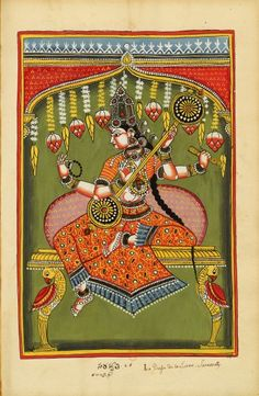 Sarasvati.  Divinités indiennes 1720 to 1730. Southern Andhra Pradesh (north of Madras), bordering Karnataka, India. (via Bibliothèque nationale de France)