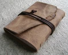 Rustic leather journal by Dancing Grey Studio