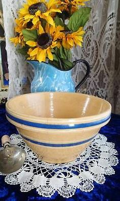 "Nice Antique Yellowware Stoneware Blue Banded Bowl 8 1 2"" Farmhouse Primitive 
