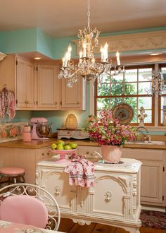 Charming Pink & Aqua Shabby Chic Kitchen with Decor Ideas! See more at thefrenchinspiredroom.com