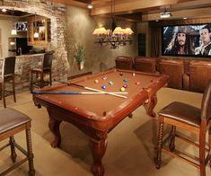 play time: media room, game room, bar