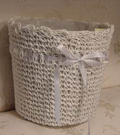 Shabby Chic Vintage Style White Crochet with Ribbon Waste Paper Basket ideal for the Bedroom or Bathroom bin: Amazon.co.uk: Kitchen & Home