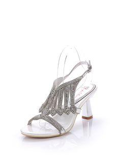 Shop Sandals - Silver Rhinestone Dress Spring/Fall Spool Heel PU Sandal online. Discover unique designers fashion at StyleWe.com.