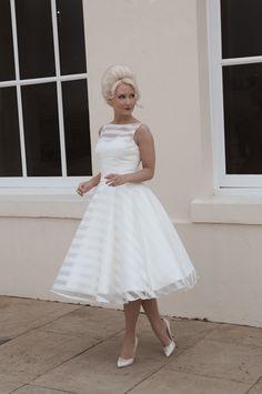 Mooshki Holly - Tea length full circle skirt of satin and organza striped sleeveless wedding dress