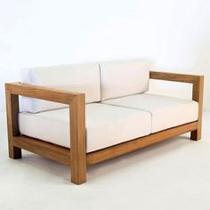 A clean, contemporary Teak Outdoor Sofa, with gorgeous, comfortable Sunbrella® cushions. The Ibiza Outdoor sofa is made with A-Grade Teak in a style that allows for versatility and stunning good looks. Diy Garden Furniture, Diy Outdoor Furniture, Ikea Furniture, Pallet Furniture, Furniture Plans, Furniture Design, Furniture Movers, Furniture Online, Luxury Furniture