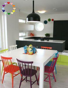 anne makeup®: mural de décor: um toque alegre com ajuda de cadeiras coloridas
