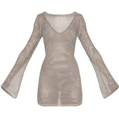 Eshe Sheer Silver Metallic Knitted Mini Dress ($53) ❤ liked on Polyvore featuring dresses, flared sleeve dress, metal dress, see-through dresses, short brown dress and futuristic dress