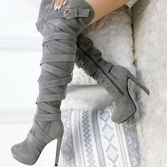 Shoespie Platform Buckle Side Zipper Stiletto Heel Knee High Boot Heel Height:13cm #highheelbootsankle