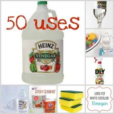 50 uses for vinegar. I just bought a Costco sized bottle, yippee!!