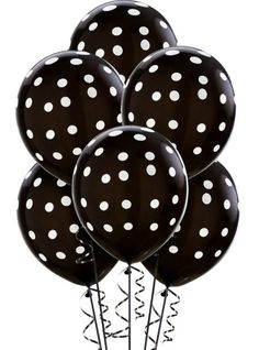 Latex Black Polka Dot Balloons 12in 6ct - Party City