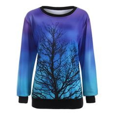 Ombre Tree Print Sweatshirt | TwinkleDeals.com