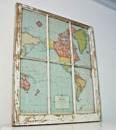 I would use a different window frame, but I LOOOOOOVE this idea!! Robb Restyle: Window to the World: DIY Map Project