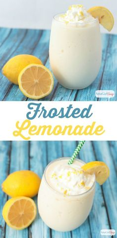 Frosted Lemonade – This frozen lemonade recipe is a refreshing spring and summertime treat. Tangy and sweet, the flavor will remind you of lemon meringue pie. If you like Chick-Fil-A's frosted lemonade, you'll love this make-at-home version. Frozen Lemonade Recipes, Frozen Drinks, Frozen Desserts, Frozen Treats, Homemade Lemonade, Smoothie Drinks, Smoothie Recipes, Smoothies, Salades Taco