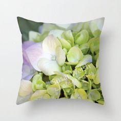 Floral Hydrangea Throw Pillow, Purple Fine Art Photography, Home Decor Interior Decorating
