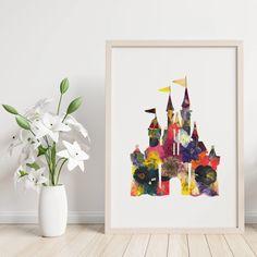 Floral disney castle silhouette print - pressed flower wall art Horse Print, Giraffe Print, Cow Print, Disney Castle Silhouette, Happy Stickers, Cinderella Carriage, Disney Gift, White Cow, Wine Glass Set