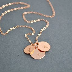 Three Initial Necklace, Rose Gold Filled Initial Disc Necklace, Personalized Necklace, Family Necklace, Everyday Jewelry by malizbijoux. Explore more products on http://malizbijoux.etsy.com