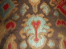 4y Designer Upholstery Southwest Ikat Fabric Chenille Blue Red Gold Dark Brown