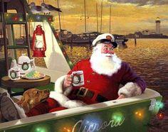 Festive Santa Claus by Tom Newsom ~ Pictures Portal Nautical Christmas, Tropical Christmas, Beach Christmas, Father Christmas, Christmas Dog, Vintage Christmas, Christmas Holidays, Merry Christmas, Christmas Things