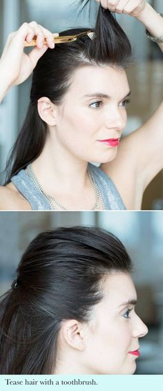 17 hair hacks | use a toothbrush to get volume in your hair without the challenge of back combing