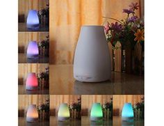 SolidPin 120ml Aromatherapy Essential Oil Diffuser Cool Mist Air Humidifier Portable diffuser with 7 Color LED Lights Changing - Waterless Auto Shut-off Function for Home Office Bedroom Room Spa Gym