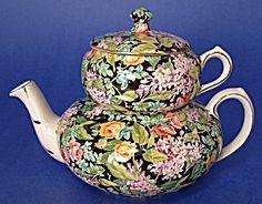 Vintage Chintz Teapot Black Beauty Nelson Stacking