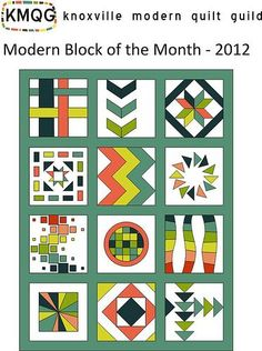 """Modern Block of the Month for the Knoxville Modern Quilt Guild  All blocks are 12.5"""" unfinished.  Dimensions of completed quilt: ~44"""" x 58"""" Estimated Fabric Requirements: 2 yards - Background of blocks 10-12 FQs or assorted prints to equal 2.5-3 yards - for the blocks 1 yard - Sashing .75 yard - binding 2.25 yard - backing  All block patterns are free to use!  ALL 12 BLOCKS 1.) January - Woven - tutorial on partial seams 2.) February - Chevrons - (Printable Templates) 3.) March -Filmstrip…"""
