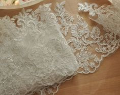 Bridal Alencon Lace Trim in Ivory for Veils Gowns by lacetime