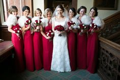 Suzanne Neville Glamour for a Gold and Red Christmas Wedding - Photographer - David Long Christmas Bridesmaid Dresses, Sparkly Bridesmaid Dress, Winter Bridesmaids, Modest Wedding Dresses, Red Wedding, Wedding Day, Wedding Blog, Wedding Colors, Christmas Wedding