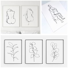 Botanical Line Drawing, Botanical Wall Art, Botanical Drawings, Botanical Prints, Nursery Prints, Nursery Art, Nursery Decor, Modern Wall, Modern Decor