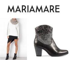 Hoy te traemos una propuesta de El Armario de la Tele... Y es que combino estos botines estilo vaqueros de la última colección de #MARIAMARE con una falda asimétrica.  El resultado es definitivamente un look 10!!!