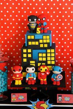 Fun SUPERHERO CAKE from this Superhero themed birthday party