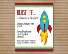 PRINTABLE - Rocket Birthday Invitation - Space Invitation - Spaceship - Outer Space