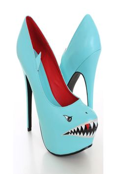 85443d3b777 Mint Shark Face Print Pump Heels / Sexy Clubwear | Party Dresses | Sexy  Shoes | Womens Shoes and Clothing