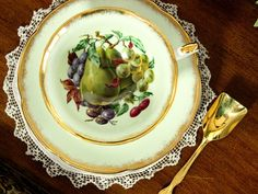 Royal Grafton Tea Cup and Saucer, Wide Mouthed, Green Base and Fruit Motif 13280