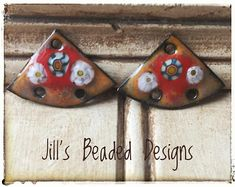 Enameled Copper Charms Grey Orange Red Enamels Triangle