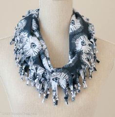 Warm Grey Tye Dye Flower Short Knotted Cowl