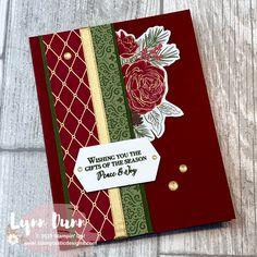 Christmastime Is Here - Quick and Simple Card Idea Learn 3 simple ways you can use ribbon in your card making. The cards feature the Stampin Up Christmastime Is Here bundle. 3d Cards, Cool Cards, Xmas Cards, Folded Cards, Stampin Up Cards, Christmas Flyer, Christmas Rose, Stampin Up Christmas, Christmas 2019