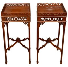 Pair of George III Mahogany Urn Stands