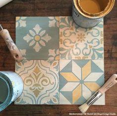 Chalk Paint Painted Tile Stencils for DIY Decorating - Royal Design Studio