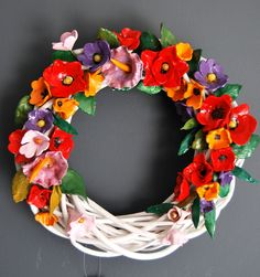 wreath with ceraminc flowers non toxic, acrylic, eco paint and varnish. by MarrusCreations on Etsy Ceramic Flowers, Grapevine Wreath, Grape Vines, Floral Wreath, Wreaths, Unique Jewelry, Handmade Gifts, Painting, Etsy