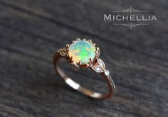 Vintage Opal Floral Engagement Ring with Diamond, Solid Gold Ethiopian Fire Opal Ring Set, Opal Promise Ring, Rose Gold Yellow White Gold by MichelliaDesigns on Etsy https://www.etsy.com/nz/listing/277239934/vintage-opal-floral-engagement-ring-with