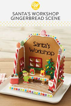 Turn this gingerbread space into Santa's Workshop for Christmas! Decorate with candy and icing to bring the workshop to life! Decorate with helpful elves, presents, and Christmas lights or make the design completely your own! Gingerbread Christmas Decor, Gingerbread House Designs, Gingerbread House Parties, Gingerbread Village, Gingerbread Decorations, Christmas Sweets, Christmas Cooking, Noel Christmas, Christmas Goodies