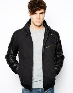 River Island Faux Leather Jacket With Hood