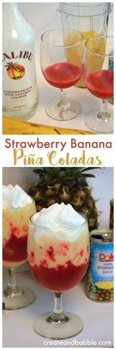 Strawberry Banana Piña Colada / 1/2 to 1 Cup of fresh or frozen (defrosted) strawberries/ 1/2 teaspoon sugar / 1 small can pineapple juice (1 C) / 1/2 cup coconut cream / 1 small banana (sliced and frozen) / 1/2 to 1 cup diced frozen pineapple chunks/ 2 ounces of coconut rum/ a few ice cubes if needed